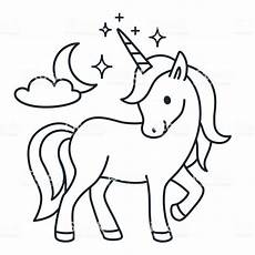 cute unicorn simple cartoon vector coloring page illustration simple flat line doodle icon
