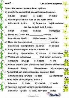 edwayz animals freeworksheets evs class 4 grade 4