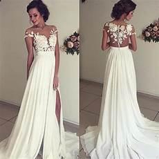 vintage chiffon beach wedding dress summer white cap sleeves v neckline fitted split boho