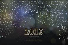 happy new year 2019 with realistic fireworks background