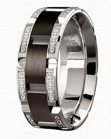 mens diamond black wedding rings 18k white gold
