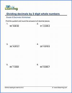 division with decimals worksheets grade 6 7491 grade 6 math worksheet decimals dividing decimals by 2 digit whole numbers k5 learning