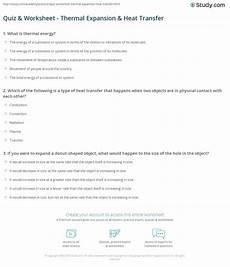 quiz worksheet thermal expansion heat transfer study com
