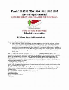 service repair manual free download 1987 ford f series electronic toll collection ford f100 f150 f250 f350 1980 1981 1982 1983 service repair manual