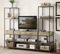 homelegance rumi entertaiment center set light burnished wood with metal frame 5264 home set