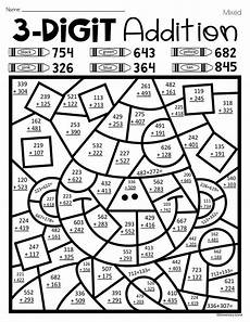 3 digit addition with regrouping coloring worksheets 9704 new year s three digit addition color by number with and without regrouping back to school