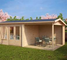 gartenhaus 44 mm wandstärke gartenhaus mit terrasse nora d 9m 178 44mm 3x6