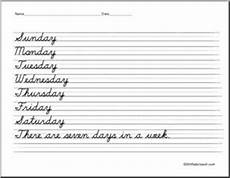 cursive handwriting worksheets days of the week 21350 cursive handwriting handwriting practice writing days of the week abcteach