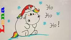 unicorn einfach malvorlagen pummeleinhorn als weihnachtsmann zeichnen how to draw