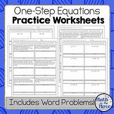 one step equations worksheets including word problems by math the move