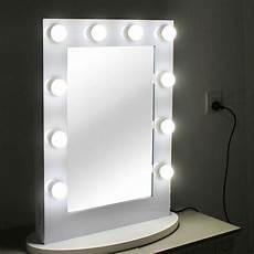 white makeup vanity mirror with light aluminum