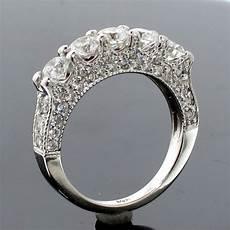 2 50 ct tw 5 stone diamond encrusted anniversary wedding