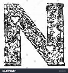 Childlike Doodle Abc Letter N Stock Illustration