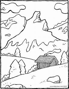 Ausmalbilder Urlaub Berge Mountain Landscape Kiddicolour