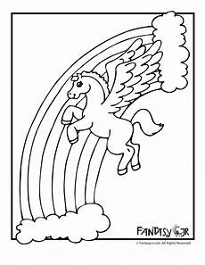 pegasus with rainbow coloring page woo jr activities
