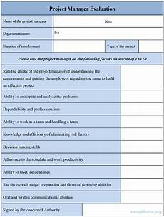 project management forms and templates project manager evaluation form sle forms