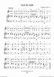 free deck the halls sheet music with lyrics and mp3 audio