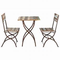 gartentisch und stühle gartentisch 2 st 252 hle aus recyclingholz und metall in antikoptik b 60 cm collioure collioure