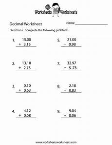 math worksheet addition and subtraction of decimals 7620 decimal addition worksheet free printable educational worksheet