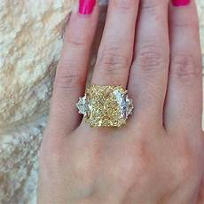 3 15ct cushion cut canary yellow diamond engagement ring