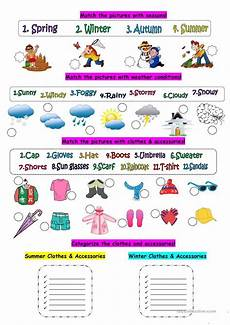 seasons time and weather worksheets 14867 weather seasons clothes worksheet free esl printable worksheets made by teachers