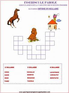 trovare parole con le lettere divisione in sillabe enigmistica per bambini e ragazzi