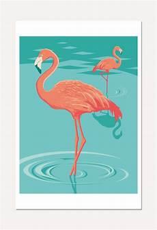 Comment Dessiner Un Flamant Affiche Illustration De Deux Flamants Roses Poster 30 X