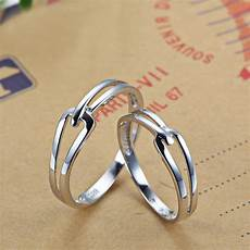 interlocking couple promise rings set for women and men simple cute wedding ring band in 925