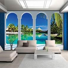 blick wandbild tapeten fototapete tapete palmen natur