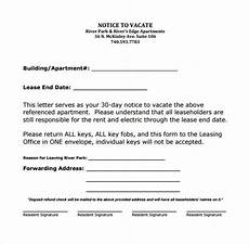 Apartment To Rent For A Day by 11 Sle Notice To Vacate Letters Pdf Ms Word Apple