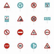 verschiedene verkehrszeichen stellten flache ikonen ein