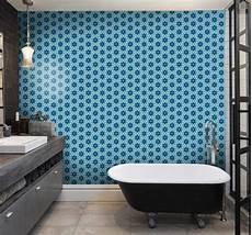 badezimmer tapeten blaue fliesen tapete badezimmer tenstickers