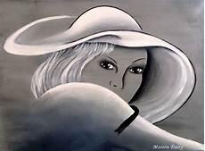 tableau visage noir et blanc tableau peinture chapeau portrait visage noir et blanc