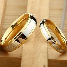 mq stainless steel wedding ring silver gold color simple design couple alliance ring 4mm 6mm