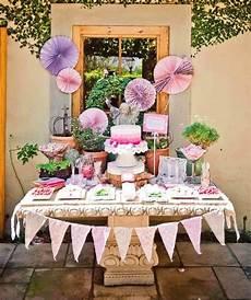 Ideen Für Geburtstagsparty - kindergeburtstag buffet organisieren pom pom lila deko
