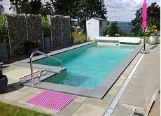 swimming pools in white anthracite sand or grey color