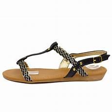 damen schwarz flach bequem sandalen flip flop schuhe t