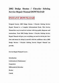 car repair manuals online free 1996 chrysler sebring lane departure warning 2002 dodge stratus chrysler sebring service repair manual download