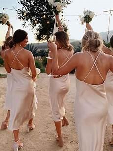 Spaghetti Straps Backless Mermaid Silk Elastic Satin Bridesmaid Dress Fc2249