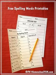 homeschool spelling worksheets 22416 free spelling list and spelling test printables pk1homeschoolfun