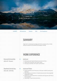 lecturer resume sles and templates visualcv