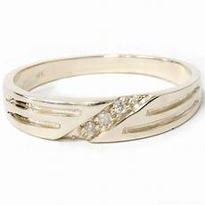 mens 14k yellow gold diamond wedding anniversary ring ebay