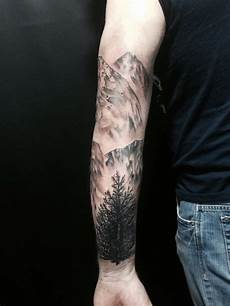 30 Mountain With Trees Tattoos
