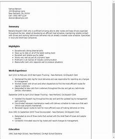 professional dispatch clerk templates to showcase your talent myperfectresume