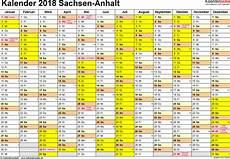 Kalender 2018 Sachsen Anhalt Ferien Feiertage Pdf Vorlagen