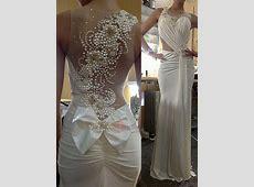 Round Neck Beaded Pearls Sheath Wedding Dress : Tidebuy.com