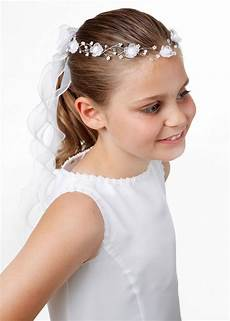 Kommunion Frisuren Für Mädchen - kinderkommunion stirnkranz mit organzaband wei 223