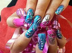 image result for pink yellow and blue nail designs blue