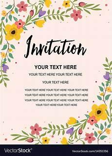 happy birthday invitation card template vintage floral greeting invitation card template vector image