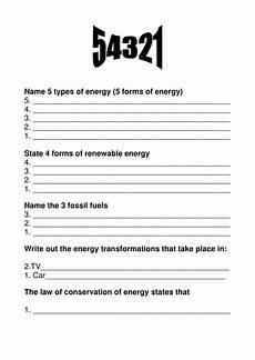 energy worksheet 5 4 3 2 1 starter activity teaching resources